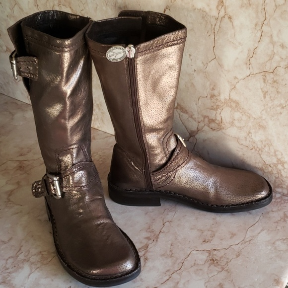 Donald J Pliner 6.5 brown gold motorcycle boots